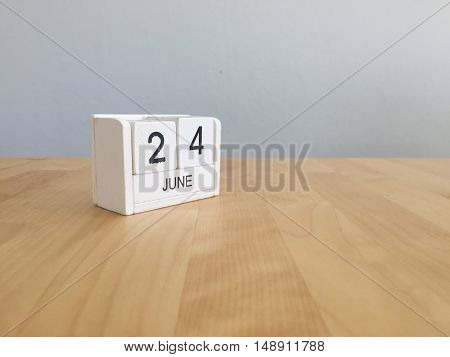 June 24Th.june 24  White Wooden Calendar On Vintage Wood Abstract Background. Summer Day.copyspace F