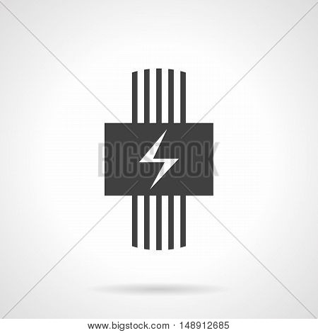Electric heating system for house. Heated floor model. Electrical wire and panel with power sign. Monochrome black flat design vector icon.