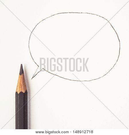 Vintage tone of black Pencil with speech bubble