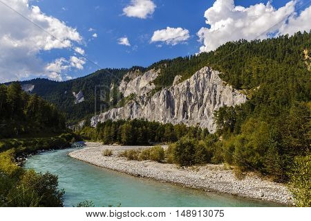 Landscape With A Beautiful Mountain River In Alps