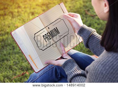 Premium Quality Value Guarantee Worth Standard Concept