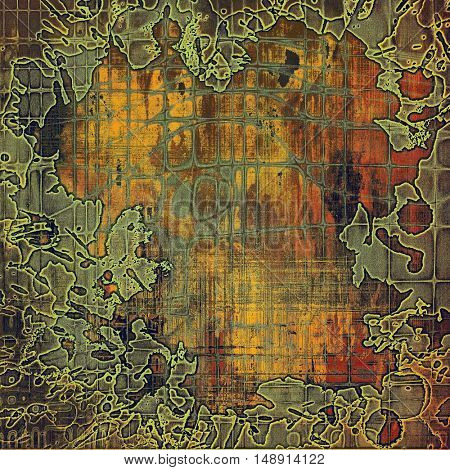 Vintage old-style texture, worn and rough grunge background with different color patterns: yellow (beige); brown; gray; green; red (orange)