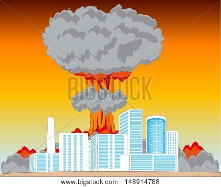 The City and atomic blast in big power.Vector illustration