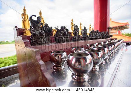 NonTaburi,Thailand - Sep 25 , 2016 : Little priest statue in Dragon Temple Kammalawat Temple