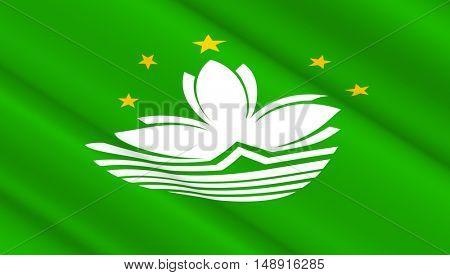 Waving flag of Macao. 3D illustration.