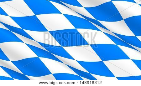 Waving flag of Bavaria. 3D illustration.