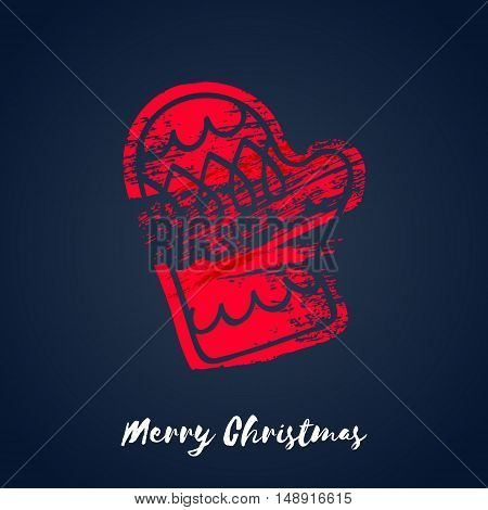 Colorful christmas winter mitten icon. Hand drawn paint brush vector illustration. Good for christmas new year design
