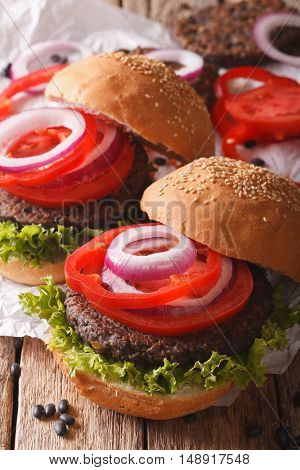 Bean Veggie Burgers With Vegetables Close-up. Vertical