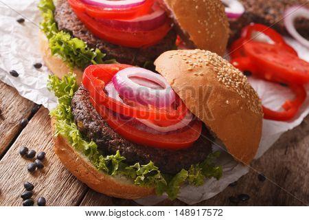 Fresh Delicious Veggie Black Bean Burgers Close-up. Horizontal