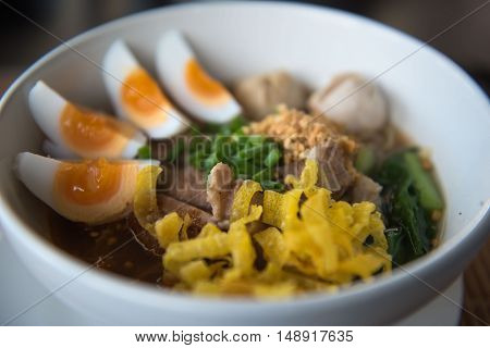 closeup Thai noodles with boiled in a bowl. At restaurant