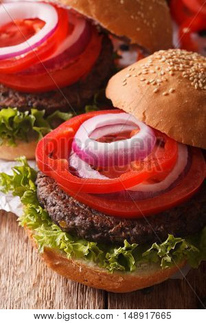 Vegetarian Black Bean Burgers From Macro. Vertical