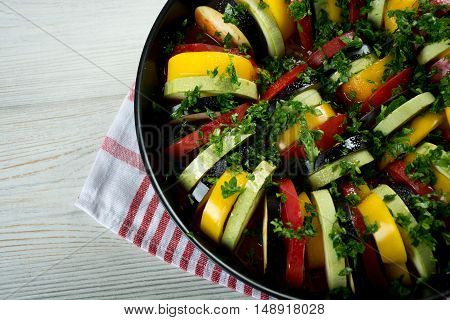 Ingredients for Ratatouille fresh tomatoes peppers eggplants marrows
