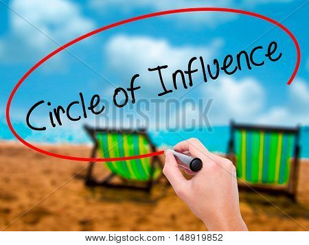 Man Hand Writing Circle Of Influence With Black Marker On Visual Screen