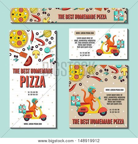 Set of business cards or flyers with an image of ingredients for pizza and fun cat on the scooter as a pizza delivery vehicles.Vector illustration Fast-food business pizza or other menu. Funny cartoon background for cafe.