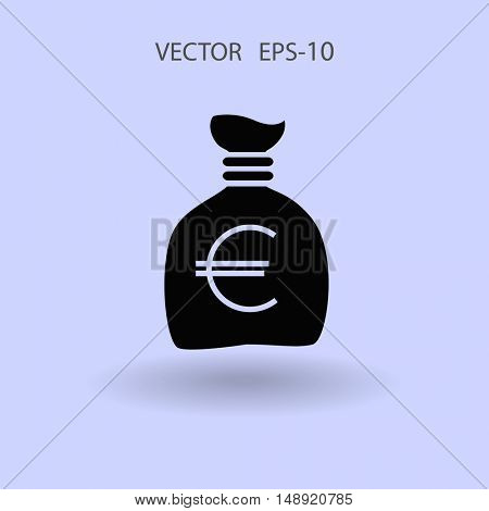 Flat long shadow Money bag icon, vector illustration