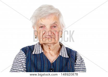 Picture of a happy senior woman on isolated background