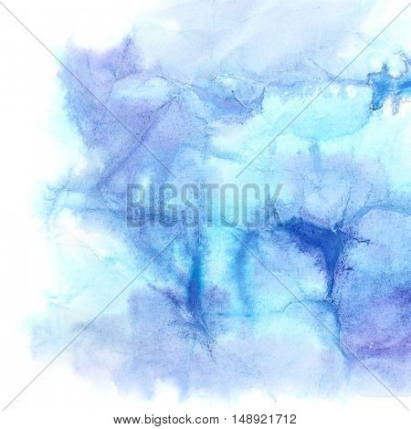 Blue watercolor background with texture of crumpled paper