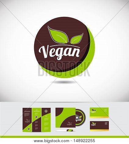 Vegan food vector logo icon design badge corporate identity set cd brochure business card green leaf sicker hand written writing