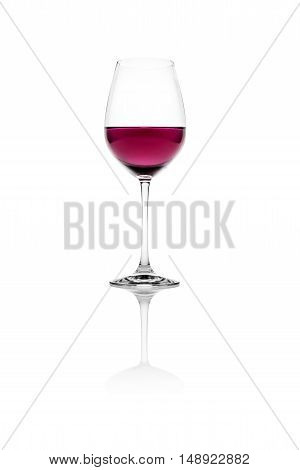 Isolated glass of red wine on a white background.