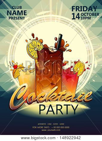 Cocktail party poster with cocktail in the rays of light on polygonal background vector EPS 10