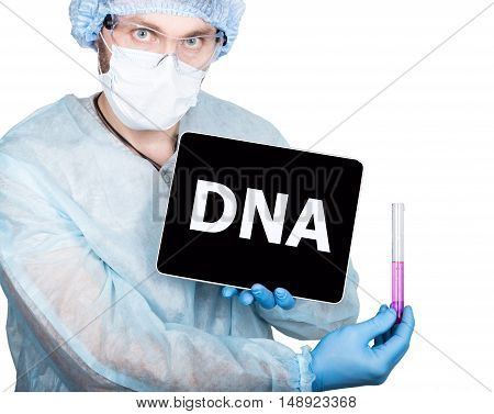 professional medical doctor showing a tablet pc and DNA concept on screen.