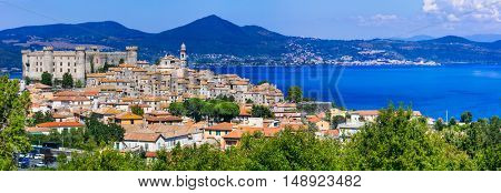 Panoramic view of village and medieval castle in Lago di Bracciano