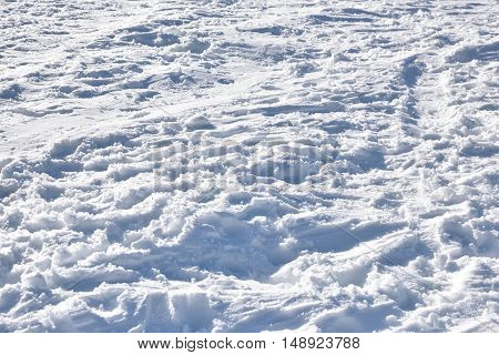 Overall texture of snowy ground. elevated view