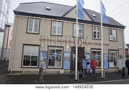 REYKJAVIK ICELAND - SEPTEMBER 15 2016: Tourist information center on 15 September 2016 in Reykjavik Iceland. Tourist information center located in the city center