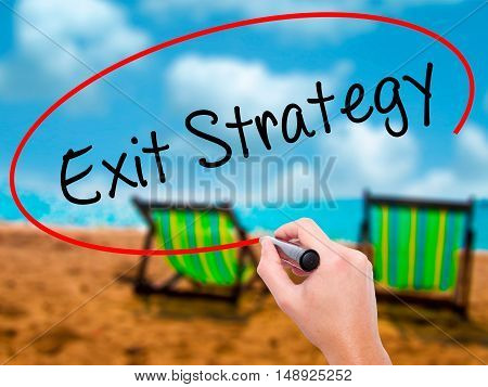 Man Hand Writing Exit Strategy With Black Marker On Visual Screen.