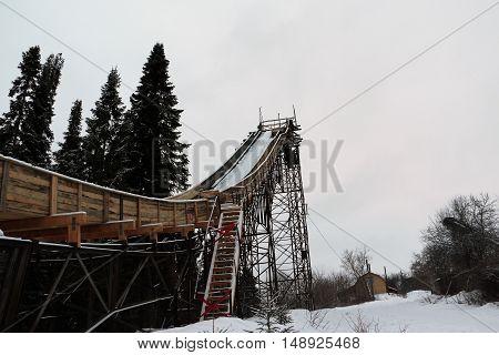 Springboard For Ski Jumping In The Park