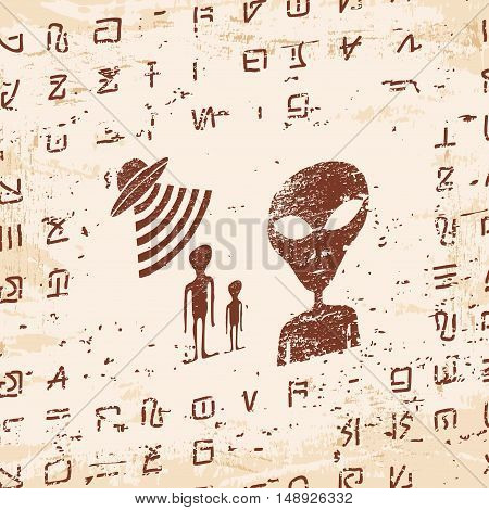 Vector illustration of alien writing, hieroglyphs and the ufo on the stone with the effect of aging.
