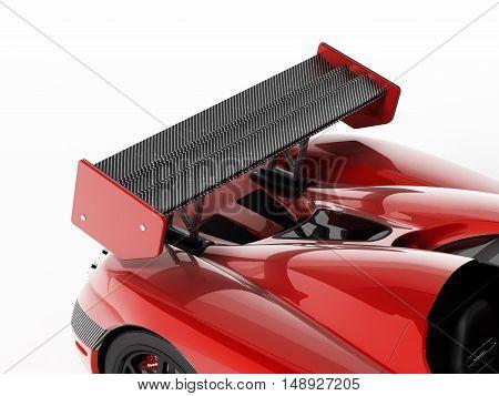 Red race car with carbon fiber spoiler. 3D illustration.