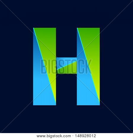H letter line colorful logo. Abstract trendy green and blue vector design template elements for your application or corporate identity.