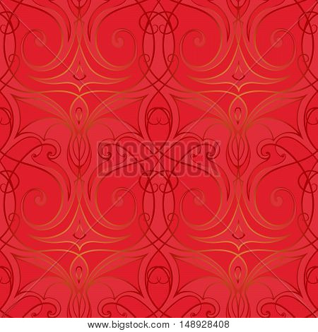 Abstract chinese new year background. Linear seamless pattern imitating ornament on the chinese red silk or satin. EPS10 vector illustration.