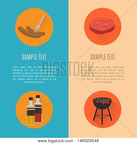 BBQ grill banners template. Barbecue banners with grill and food design elements. BBQ party flyers with space for text. Grill menu layout. Bbq grill concept and bbq grill vector icon. Bbq elements for ad or grill menu. Barbecue process banner.