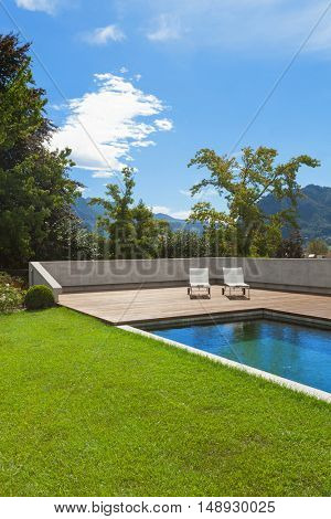 Swimming pool of a private residence, outdoors