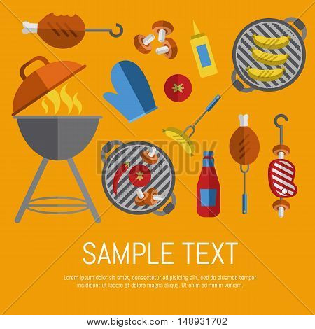Vector illustration BBQ card. Barbecue, skewers, ketchup and mustard, vegetables on grill, beef steak and grill tools on yellow background. Food banner. BBQ party invitation in flat style