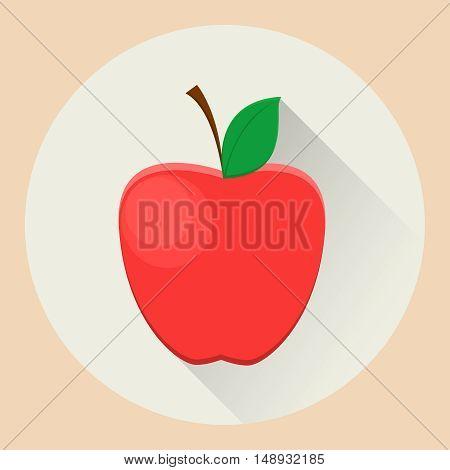 Red apple flat icon. Vector stock illustration
