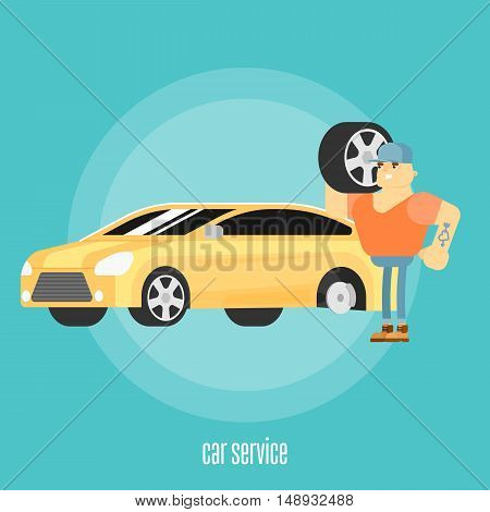 Car tire service concept flat vector illustration