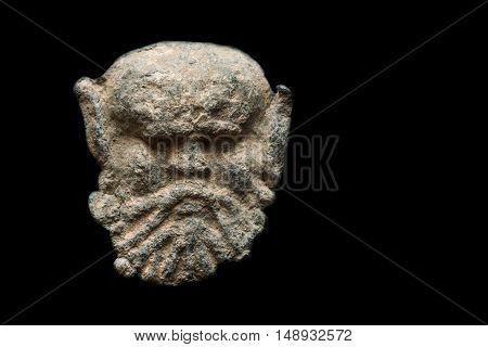 Ancient Post Seal Made Of Lead In The Shape Of Head