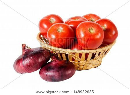 Onion and tomatoes isolated on white background. Selective focus