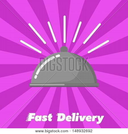 Restaurant cloche isolated on striped perpl background. Fast delivery banner, vector illustration. Shipping and moving service. Fast food delivery design. Professional courier service.