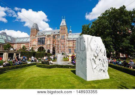 Amsterdam Netherlands - July 03 2016: Memorial stone in a garden of Rijksmuseum sunny day