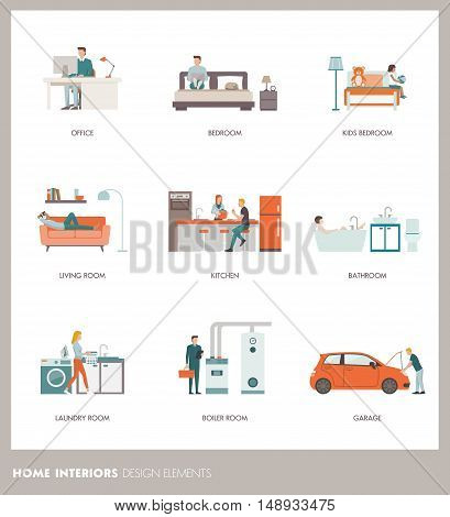 Conceptual home room interiors with people objects and furnishings: office bedroom bathroom living room kitchen garage laundry and boiler room