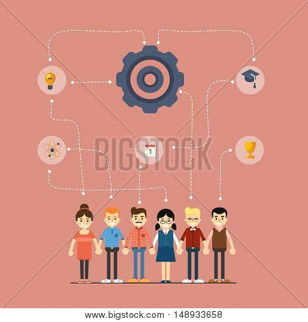 Social network and teamwork banner with group of people holding hands, vector illustration on red background. People communication concept. Infographic design. Research and development. Mind map team