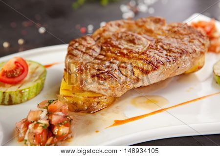 Grilled Foods - BBQ Pork Chop on Potato with Vegetables