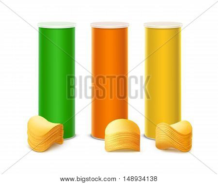 Vector Set of Colored Green Orange Yellow Tin Box Container Tube for Package Design with Stack of Potato Crispy Chips Close up Isolated on White Background.
