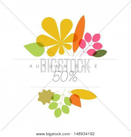 Autumn abstract floral background made from minimalist leafs with place for your text