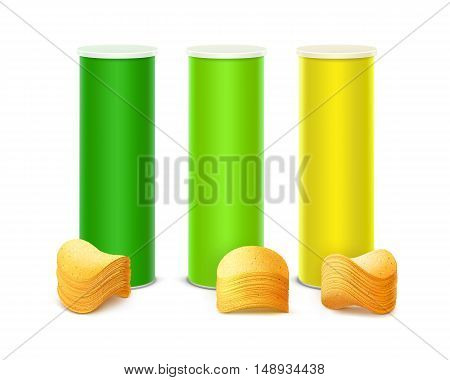 Vector Set of Colored Light Green Yellow Tin Box Container Tube for Package Design with Stack of Potato Crispy Chips Close up Isolated on White Background.