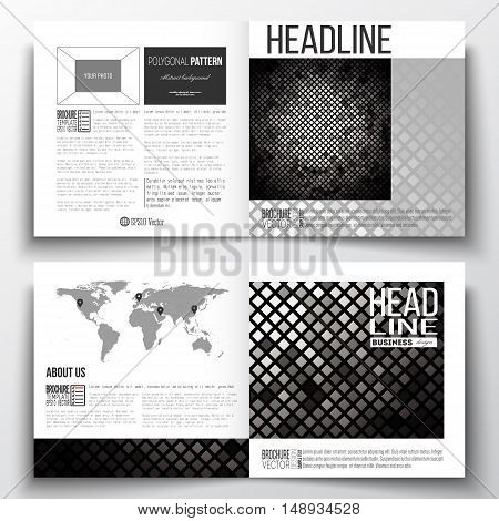 Vector set of square design brochure template. Abstract polygonal background, modern stylish square design silver vector texture.